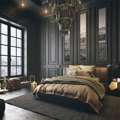Modern Vintage Bedrooms, Modern Luxury Bedroom, Luxury Bedroom Design, Bedroom Vintage, Contemporary Bedroom, Luxurious Bedrooms, Dark Bedrooms, Contemporary Kitchens, Dark Cozy Bedroom