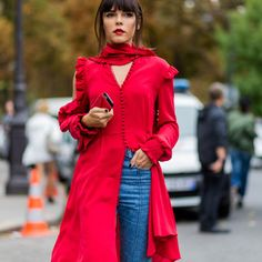 - Wear red with a coordinated pout.