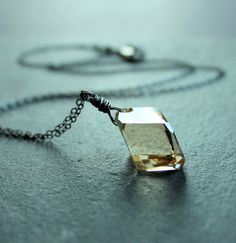 Golden Swarovski Necklace   Oxidized Silver  Crystal by hildes