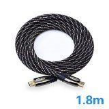 4K HDMI Câbles Ultra High Speed Super Wear-resistant Nylon Braided Type-A HDMI 2.0 Cable 4K High Definition Video3DEthernet Support for HDTVLCD TVPS Game ConsoleProjector and More. (1.8m)