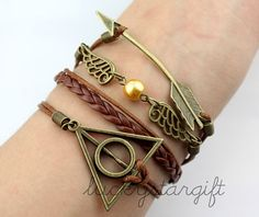 Cool arrow wing hallows harry potter magic charm bracelet brown rope brown leather braided bracelet charm bracelet with fashion-Q301by luckystargift, $4.99