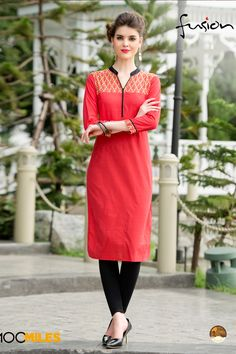 Red simple casual wear printed cotton kurtis 01
