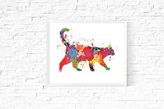 Cat Art Printable   https://www.vivabop.co.uk/products/colourful-cat-art-printable