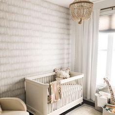 Loving this neutral wallpaper! Neutral Wallpaper, Nursery Wallpaper, Convertible Crib, Crib Mattress, Project Nursery, Room Accessories, Nursery Design, Nursery Room, Engineered Wood