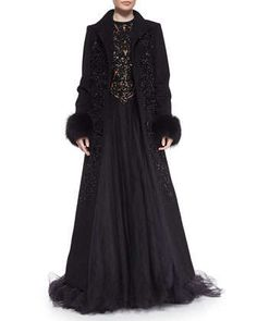 Fox Fur-Trimmed Beaded Coat & Beaded Contrast Tulle Gown by Elie Saab at Neiman Marcus.