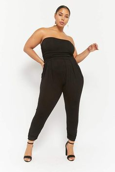 Forever 21 Plus Size Ruched Strapless Jumpsuit