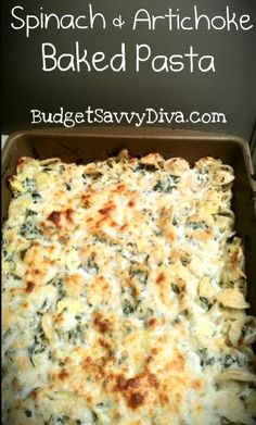 Spinach and Artichoke Baked Pasta. Wonder if M would eat this - sounds yummy! I Love Food, Good Food, Yummy Food, Pasta Dishes, Food Dishes, Pasta Meals, Pasta Food, Main Dishes, Great Recipes