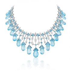 Necklace in Diamonds and Blue Topaz by Andreoli