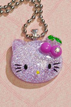 Glitter Hello Kitty Necklace (Purple) $10.00