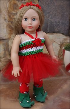 "Santa's Helper Outfit for American Girl Dolls is available at Harmony Club Dolls online store www.harmonyclubdolls.com Visit our new 18"" Doll collection and meet Cadence Rose, with long blonde hair and blue eyes."