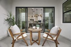 Hang out with your coffee in the morning at this cute wood bistro set in your side yard right off the kitchen! Revo Plan One at Novel Park for William Lyon Homes Indoor Outdoor Living, Outdoor Rooms, Outdoor Furniture, Outdoor Decor, California Room, Bistro Set, Yard Design, Relax