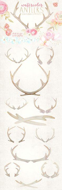 Rustic Watercolor Antlers & Flowers on Creative Market