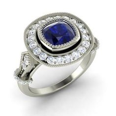 Cushion-Cut Sapphire Engagement Ring in 14k White Gold with SI Diamond