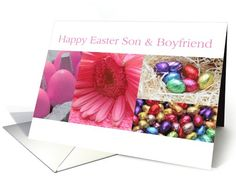 son & boyfriend happy Easter - Pink Easter Collage card