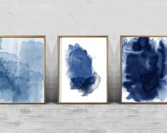 Set of 3 Abstract Watercolor Prints Indigo Blue Navy Wall art Prints Splatter Minimalist art Scandinavian Art Nordic Prints Boho Home Decor