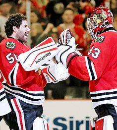 Happy Goalies, no matter who's in the net. #Blackhawks