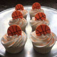 Basketball themed Baby Shower Pin On Cupcakes Basketball Cupcakes, Basketball Baby Shower, Basketball Birthday Parties, Fondant Cupcakes, Cupcake Cakes, Fondant Icing, Cup Cakes, White Icing, Baby Shower Themes