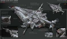 concept ships: Butcher Class Heavy Gunship by KaranaK