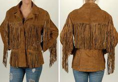 Women's Apparrel tops with fringes   Women's Cowhide Suede Fringe Jacket