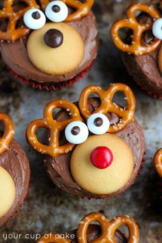 Reindeer Cupcakes: Pretzles for antlers, Nilla Wafers for muzzles, Brown M&M's for noses (some red for Rudolph), White Mint M&M's for eyes