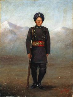 A soldier of the 1st Chinese Regiment, in full dress, 1900. The 1st Chinese Regiment, an infantry battalion raised in the British enclave of Wei Hai Wei on the northern coast of the Shantung Peninsular in northern China, was established in 1898. During the 3rd China War (Boxer Rebellion) (1900) the regiment's loyal conduct made a highly favourable mark on the British and their allies, particularly amongst those officers seconded to the regiment from the British Army.