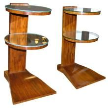Pair of French Art Deco Mirrored Tables by Jules Leleu