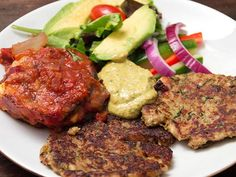 Halloumi- och squashbiffar med auberginegratäng Halloumi, Tandoori Chicken, Mozzarella, Steak, Pork, Veggies, Beef, Healthy, Ethnic Recipes