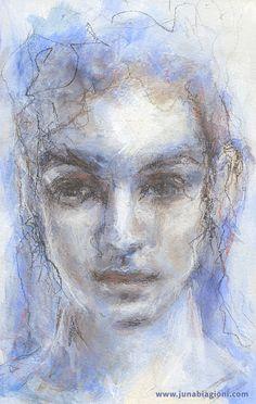 Art Journal Portrait by Juna Biagioni. Mixed media. Acrylic paint, pastel pencil and charcoal pencil. www.junabiagioni.com