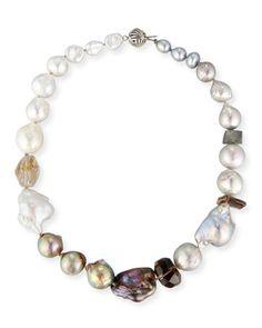 Baroque Pearl & Smoky Quartz Necklace $750