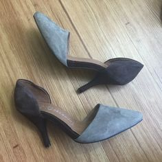 Jeffrey Campbell suede kitten heels ☀️☀️Beautiful gray and brown suede kitten heels by Jeffrey Campbell. Slip on, super soft cushion heel and so comfortable! Love these!                         ☀️Excellent condition. No flaws. Suede is beautiful.                                                                       ☀️Size 7.5 Jeffrey Campbell Shoes Heels