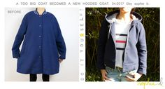 � by sophie b. Spring / Summer 17: TUTO PAS A PAS PHOTOS: Transformation d'un manteau trop grand en caban � capuche // D.I.Y. a new hooded coat in a too big coat.