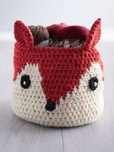 Foxy Stash Basket   Yarn   Free Knitting Patterns   Crochet Patterns   Yarnspirations