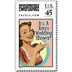 Retro Housewife Bridal Shower Invitations,stamps & magnets.