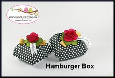 Stampin Up Hamburger Box, by Sandi @ www.stampingwithsandi.com  video shared the Hamburger Box and the Spiral Flower here:  http://stampingwithsandi.com/stampin-up-hamburger-box-video/