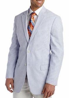 Saddlebred Blue Classic-Fit Blue Seersucker Sport Coat
