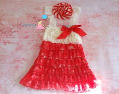 Ivory Red Candy cane dress set, Christmas dress, Red Dress,baby dress, Birthday outfit, fall outfit, girls dress,Christmas, holiday dress