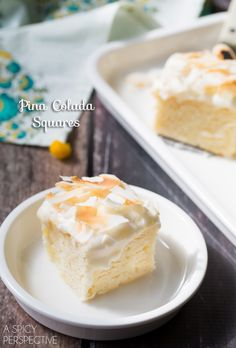 Decadent pina colada cake cut into individual squares for easy sharing. These summery cake bars are so moist and tender, with melt in your mouth topping Piña Colada Cake, Pina Colada, Cake Bars, Brownies, Cupcakes, Cupcake Cakes, Köstliche Desserts, Dessert Recipes, Cupcake Recipes
