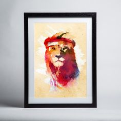 Trademark Fine Art 'Gym Lion' Canvas Art by Robert Farkas, White Matte, Birch Frame, Size: 16 x Red Framed Art, Lion Canvas Art, Painting, Art, Canvas Art, Framed Art Prints, Trademark Art, Graphic Art, Trademark Fine Art