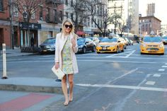 Caitlin Hartley of Styled American green and yellow floral print dress http://styledamerican.com/an-easter-look/