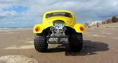I filmed and took these pictures of my finished Tamiya Monster Beetle at Ayr beach here In Scotland, It deserved to be shown In a real beach background.  This Is the finished model, I'm over the moon with how It all turned out, very pleased. Love the colour, and those wheels are superb, can't believe looking at them they came from a cheap plastic friction toy car. I put restoring this body shell off for many years, so I put everything else aside and decided now was the time to work on It…