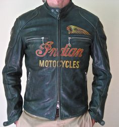 This leather is tanned and finished with the same techniques that were made in the early century. The skins are 100% natural COWHIDE and it's vegetable tanned. After the vegetable tanning process, the skin is hand finished by applying the color (aniline) with a particular technique on the entire surface. After sewing the jacket goes through various treatments (washing-specific waxes) to give it the look of a vintage leather jacket. Painted by hand in the colors of the Indian motocycles
