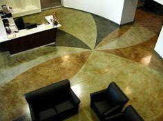 Polished concrete and Decorative Epoxy Concrete Photos - Concrete Art-FX Inc Diy Concrete Stain, Epoxy Concrete, Stained Concrete, Polished Concrete, Concrete Floors, Office Reception, Tiling, Floor Design, Decorating Ideas