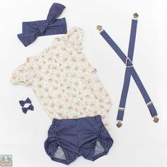Ruched shorties, Pleatie Playsuit, Suspenders, headband and bows