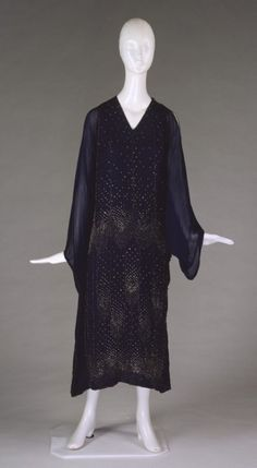 Evening dress Designer: Merite Date: ca. 1922 Media: Navy Silk Crepe, Chiffon, Steel Beads Country: France Accession Number: 1990.58.2
