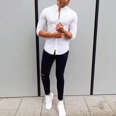 White mandarin collar shirt, distressed jeans and @adidasoriginals #sneakers by…