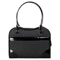 """Tote your four-legged friend in style with this chic pet carrier, showcasing a quilted handbag-inspired design in black.       Product: Pet carrier  Construction Material: Nylon  Color: Black  Features:    Mesh zippered closure   Shoulder strap  Two handles   Suitable for pets up to 25 lbs   Collapsible     Dimensions: 10.2"""" H x 14.6"""" W x  6.5"""" D"""