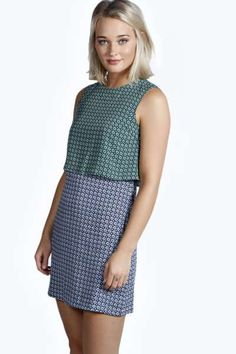 Emilia Woven Geo Print Double Layer Shift Dress at boohoo.com, this is so cute!