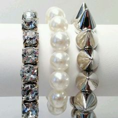 Glam Stack. Only $15. For purchase email me at dilejewelry@gmail.com #fashion #style #glam #fab #bracelet #jewelry #armcandy #accesories #cute #order #chicago #like #repin #follow me #pearls #diamonds #silver #studs #spikes
