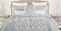Tahari Bedding 3 Piece Full  Queen Duvet Cover Set White Embroidered Floral Scroll on Gray >>> Read more reviews of the product by visiting the link on the image.