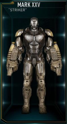 "The twenty-fifth Iron Man suit created by Tony Stark was a Heavy Construction Suit nicknamed ""Thumper"". It was designed to help with heavy construction; its powerful jackhammer-like arms can pulverize concrete, and it is designed to withstand high temperatures and electrical surges. The Thumper suit was among those summoned by Stark to battle Extremis-enhanced soldiers assisting Aldrich Killian's plot. It was controlled at the time by Stark's A.I. program, J.A.R.V.I.S.. During the fight…"